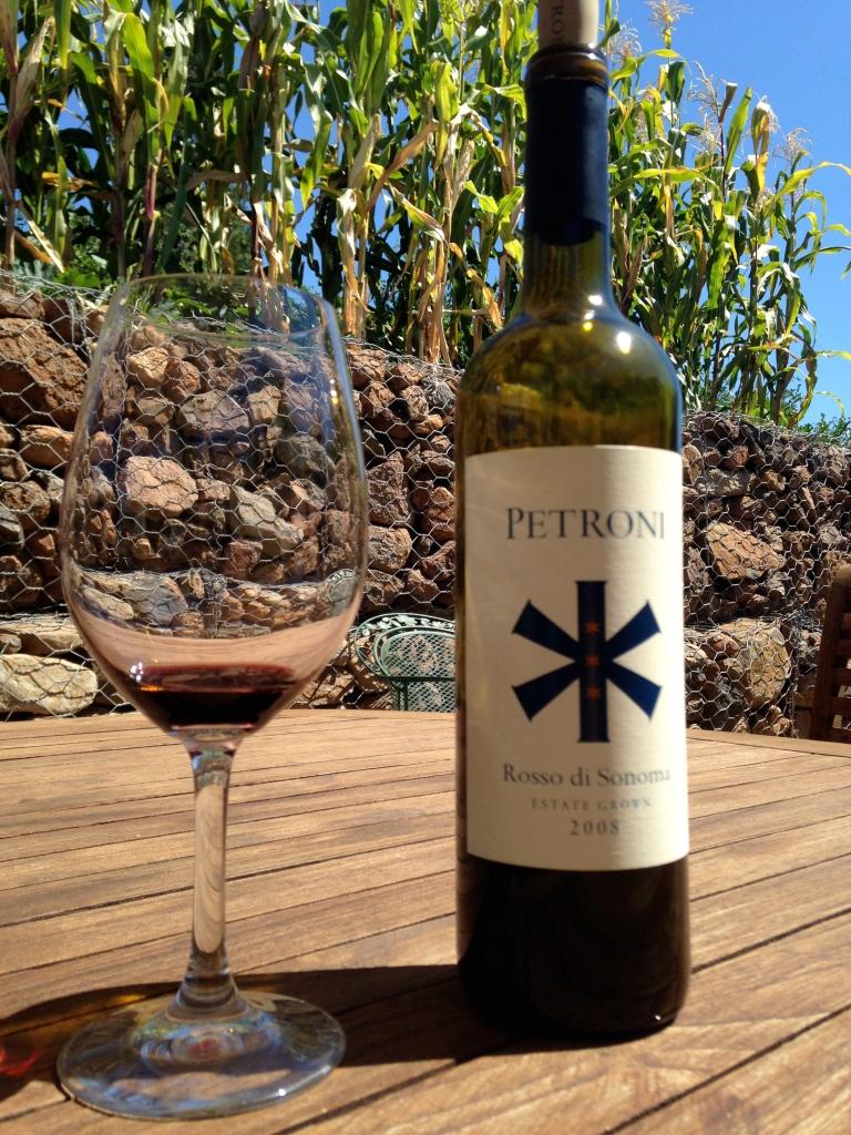 Petroni wine, plus some corn to make us feel at home.